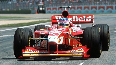 Williams FW20 of Jacques Villeneuve at the 1998 San Marino Grand Prix wearing the #1