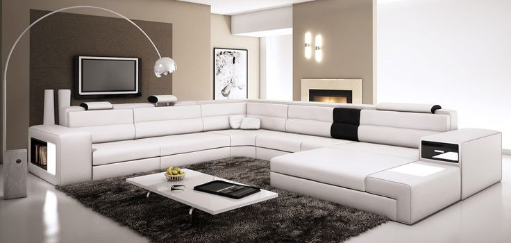Divani Casa Polaris - White Bonded Leather Sectional Sofa | Classic 2 Modern Furniture Store