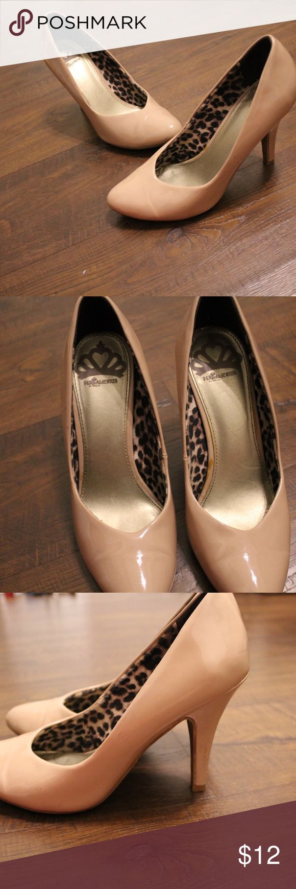 Tan Heels Patent Fake Leather These are tan fake patent leather material. They have an inside cheetah print but it is not visible. They are great and comfortable. I will rewash them if you buy. I just need to wipe them down to get some of the dirt off you see in the pictures. Love these heels! (I can lower price & please make bids) Shoes Heels