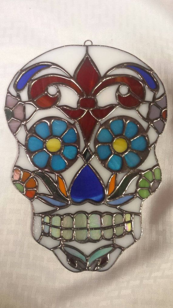 Stained Glass Sugar Skull Glass Art By Sarah Segovia