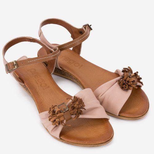 Sandale maro cu roz din piele naturala Denisa