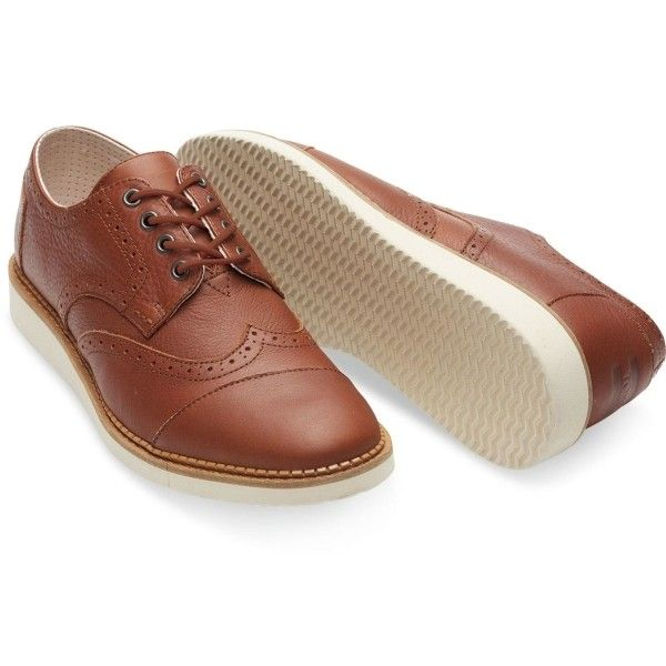 Brown Full Grain Leather Brouges ($87) ❤ liked on Polyvore featuring men's fashion, men's shoes, toms mens shoes, mens brown shoes, mens lace up shoes and mens perforated shoes