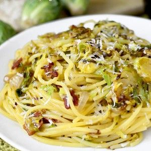 Bacon and Brussels Sprouts Spaghetti Carbonara (Gluten-Free)