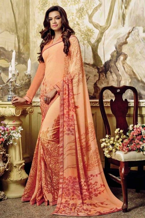 Peach Georgette Saree with Georgette Blouse Online   http://www.andaazfashion.co.uk/womens/sarees