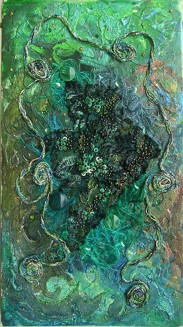 """Danger at sea"" fiber art by Karen Cattoire"