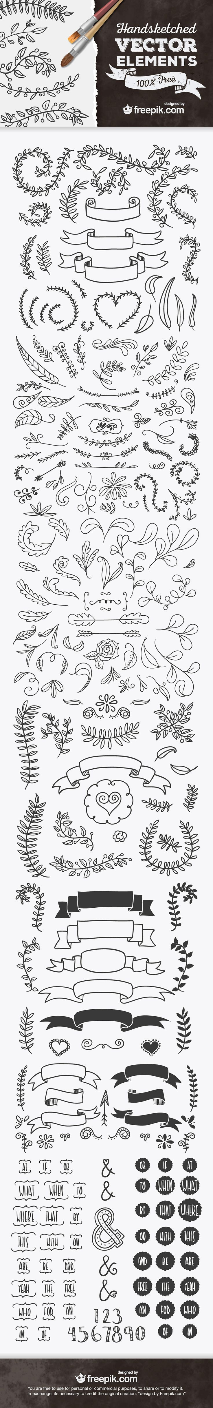Best ever handsketched free vector elements