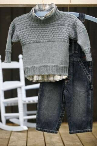 Strikkeopskrift Klassisk Sømandssweater. Baby til 14 år. ENGLEGARN