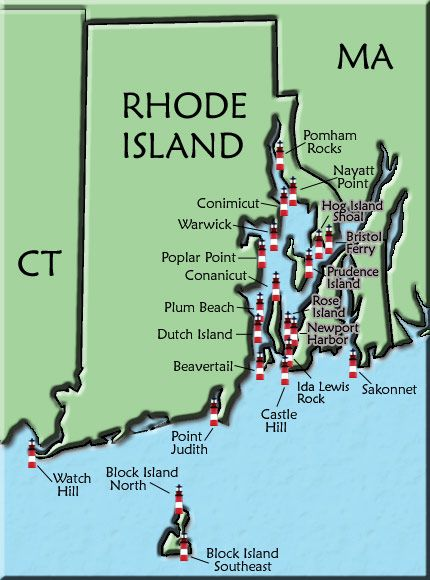 Rhode Island Lighthouse Map.. Someday when I live there I will visit every single one.