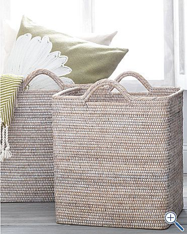 Whitewashed Storage Basket #Garnet #Hill - Perfect for throwing those beach towels in!