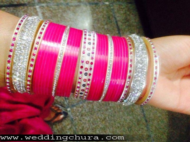 Hot Pink Traditional Chura. Website For Purchase : www.weddingchura.com Whatsapp For Purchase : +919416307694