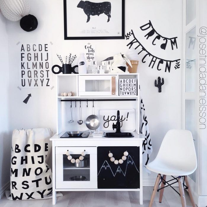 Loving this modern monochrome version of the play kitchen. The details are so great - the wooden ball handles are so cute and we love the idea of the chalkboard added to the front. The black sink and tap just add to the modern feel of this kitchen http://petitandsmall.com/6-top-ikea-play-kitchen-hacks/