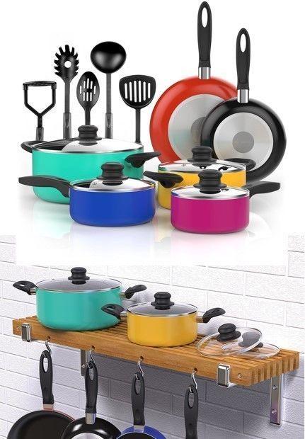 Aluminum Nonstick Cookware Set Pots Pans And Utensils Kitchen Cooking 15 Piece #AluminumNonstickCookwareSet