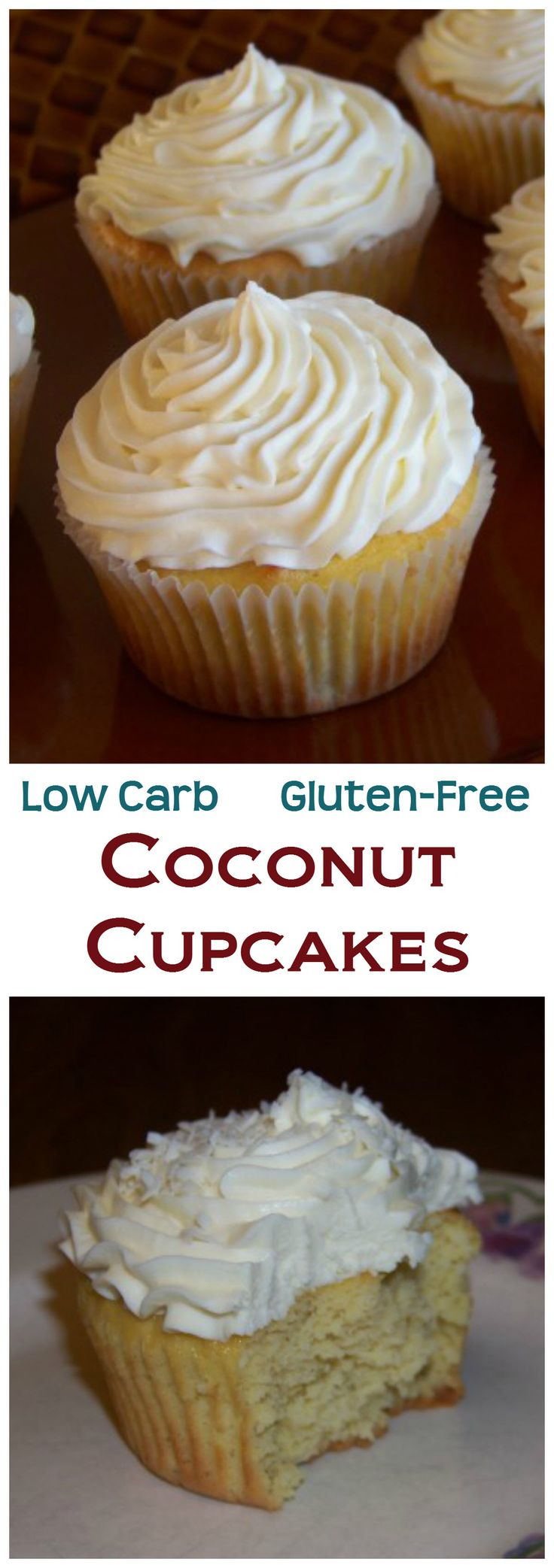 The texture of these low carb gluten free coconut cupcakes is nice and airy. Top with a sweet sugar-free buttercream frosting and a sprinkling of coconut. LCHF Keto Banting Recipe.