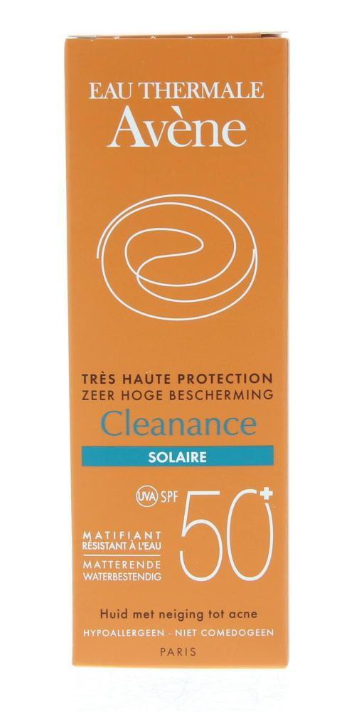 Avene Solaires Très Haute Protection Cleanance Crème SPF50 Zeer Hoge Bescherming 50ml  Description: Avene Solaires Cleanance Crème Très Haute Protection SPF50 - Cleanance Zonnebescherming Zeer Hoge Bescherming SPF50. Zonnegel-crème met een krachtige zonbescherming voor de vette en gevoelige gelaatshuid. Werkt matterend door Monolaurine dat een talgregulerende werking heeft. Hydrateert en beschermt de huid. Bevat een complex van UV-berschermende bestanddelen en een krachtig antioxidant…