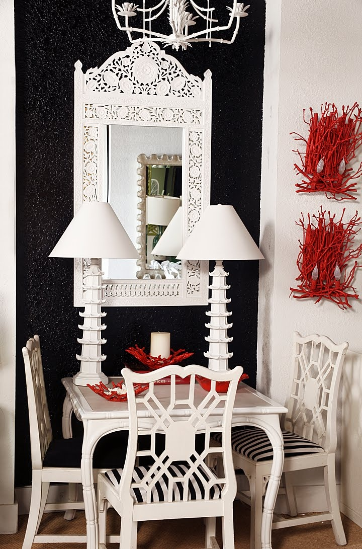 Love everything in this corner... great game table and Chinese chippendale  Chairs, the pagoda lamps are wonderful, and that mirror....yum!