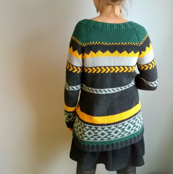 Aztec cardigan made of recycled cotton (Drops loves you 5)
