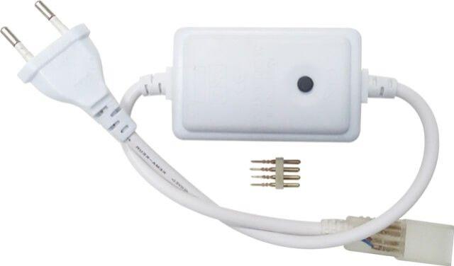 CONTROLLER BANDA LED 220V 14.4W RGB  ajuta la schimbarea culorilor sau a jocului de lumini se face prin apasarea butonului negru aflat pe controler. Acest controler  este prevazut la un capat cu stecher pentru alimentarea directa la priza cu tensiune 220V. Pretul este per bucata