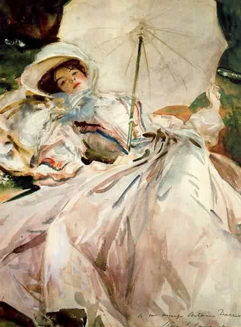Lady with parasol. Abbey of Montserrat, 1900  // John Singer Sargent watercolor