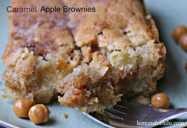 Caramel Apple Brownies  1 cup softened butter  2 cups sugar  2 eggs  2 cups flour  1 t baking powder  2 t cinnamon  2 apples  1 cup caramel bits  cinnamon sugar  350 for 45 min