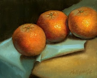 "Tangerines on Blue Cloth 8""x10"" Oil by Hall Groat II"