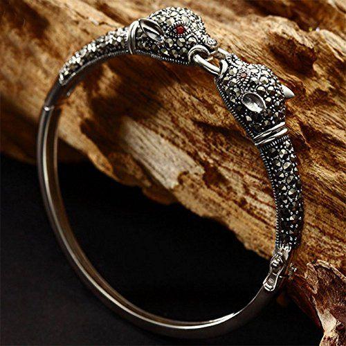 Jade Angel 925 Sterling Silber Pavé Markasit Leopard Armreif Armband Vintage Schmuck für Frauen