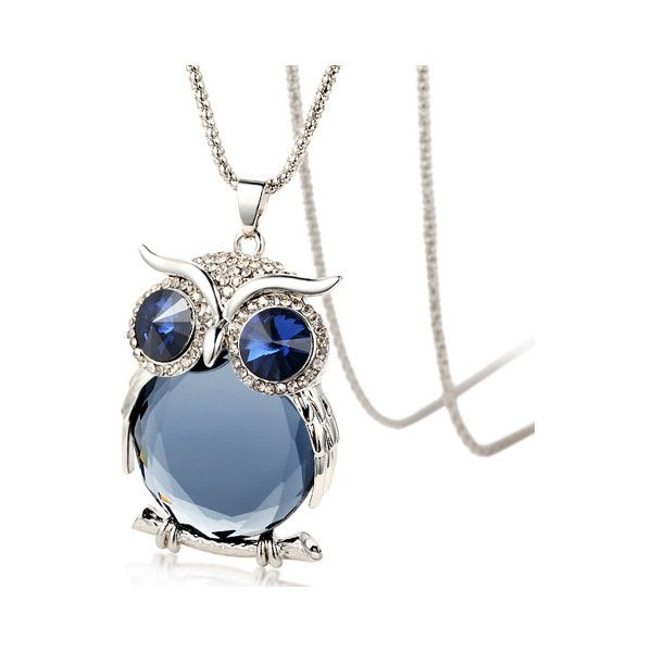 Faux Crystal Night Owl Sweater Chain ($7.87) ❤ liked on Polyvore featuring jewelry, fake jewelry, crystal jewellery, owl jewellery, imitation jewelry and artificial jewelry