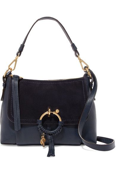 6eadc35eb See By Chloé | Joan small suede-paneled textured-leather shoulder bag |  NET-A-PORTER.COM