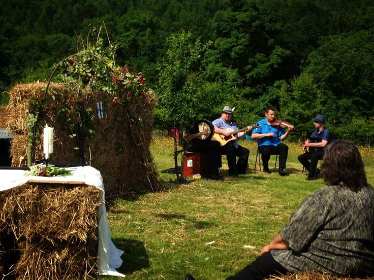 Celtic musicians perform at a humanist wedding ceremony near Dumfries, Scotland