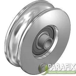 roldana para portão canal u c/ rolamento e bucha 50 mm  pol