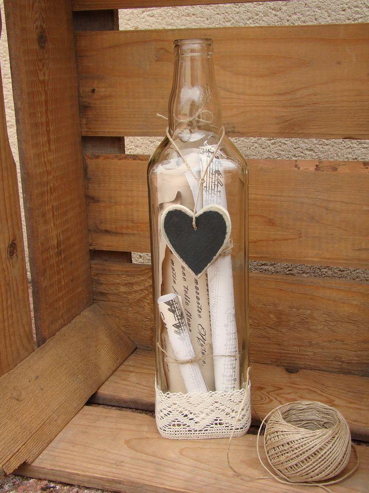 Bouteille en verre décorative poèmes romantique