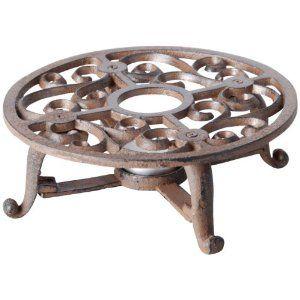 Esschert Design Gusseisen Teekannenlicht, Stövchen für Teekannen, Warmhalteplatte, Teewärmer, Rost, Durchmesser 19,5 cm