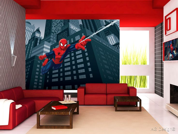 See how great looks our Spiderman photomural in interior.