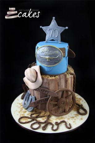 Cowboy Birthday Cake, would be awesome to recreate one of dad's favorite belt buckles he won back in day for the buckle portion of the cake.