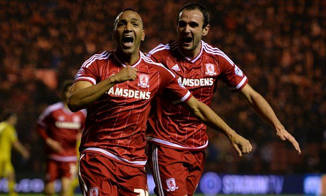 Middlesbrough 1-0 Burnley: Emilio Nsue celebrates a second-half winner as Aitor Karanka's side move to the top of the Championship.