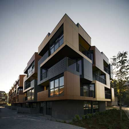 9 best multi family facades images on pinterest for Small apartment building designs