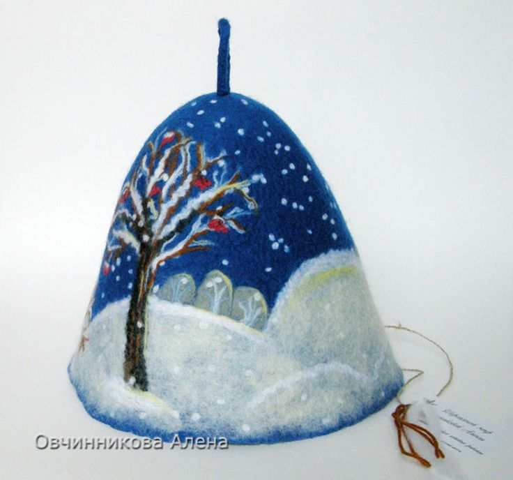 "Купить Банная шапка ""Зимушка-зима"" - синий, зима, зимний пейзаж, зимний подарок"