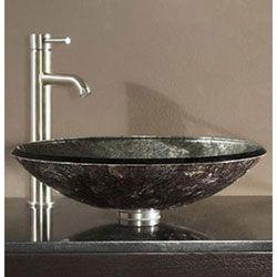 Asian Inspired Vessel Sinks | Tempered Glass Vessel Sink   Metallic Silver