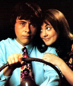 "1970-1972 ""The Lover's"" Richard Beckinsale and Paula Wilcox as Geoffrey and Beryl...who can forget her calling him ""Geoffrey Bobbles Bon Bon"""