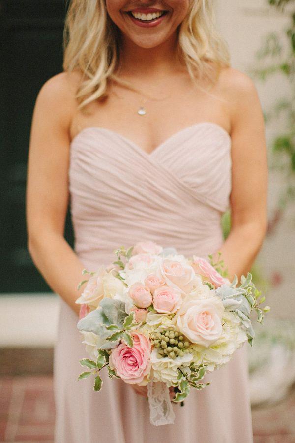 light pink bridesmaid dress with pink pastel wedding bouquet http://www.weddingchicks.com/2013/10/28/vintage-wedding/