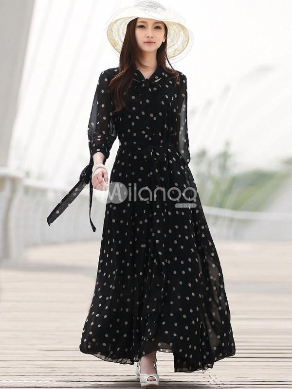 Black Polka Dot Halter Belted Chiffon Womens Dress. The belt of this item will be sent at random.. See More Maxi Dress at http://www.ourgreatshop.com/Maxi-Dress-C85.aspx