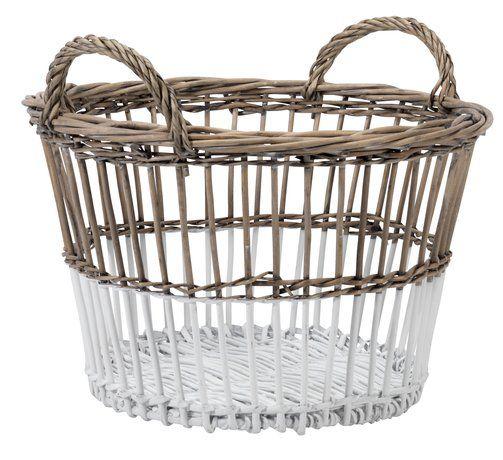 Basket REGNAR D35xH22cm natural/white | JYSK