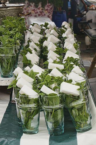 Le principe de base d'accueil marocain se fait avec un thé á la menthe fait maison...