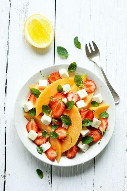 Salade de melon et fraises à la feta !
