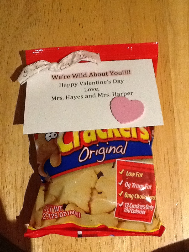 Preschool Class Valentine From Teachers. Used A Small Bag Of Animal  Crackers.