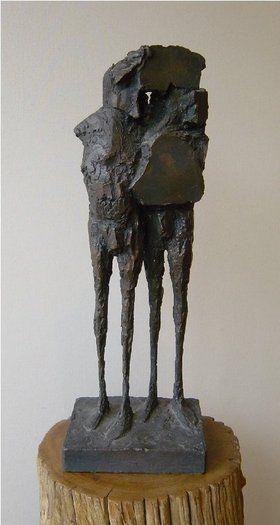 'Assassins II' by British sculptor  & graphic artist Elisabeth Frink (1930-1993). Bronze, edition of 8, 20 in ht. via Offer Waterman