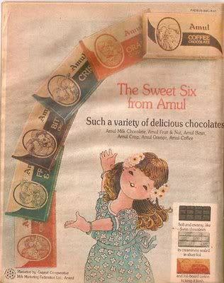 Amul....this was the only chocolates available in india ...for dacades !