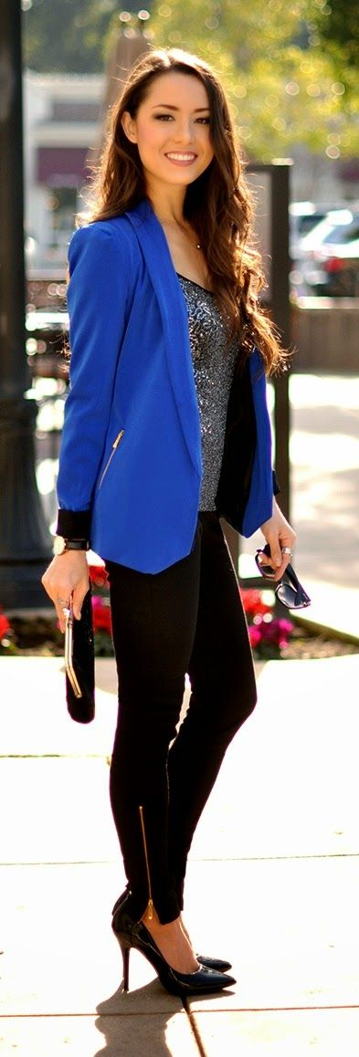 Cobalt Blazer with Sequin Tank , Black Pant and Pu...