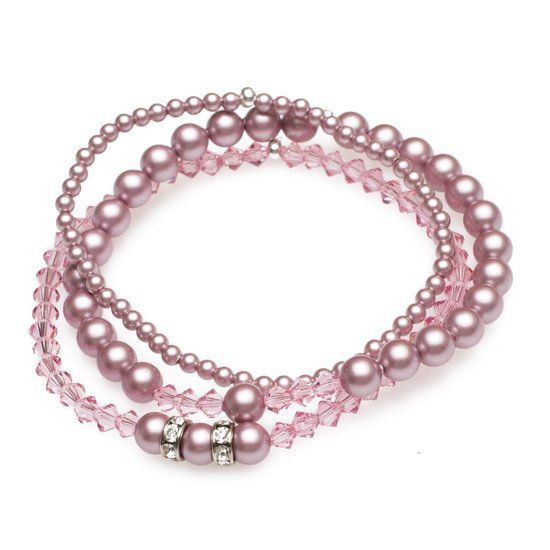 JwelU Armbanden - Poeder Roze Parels met Lichtroze Kristallen & Rondelle - Swarovski
