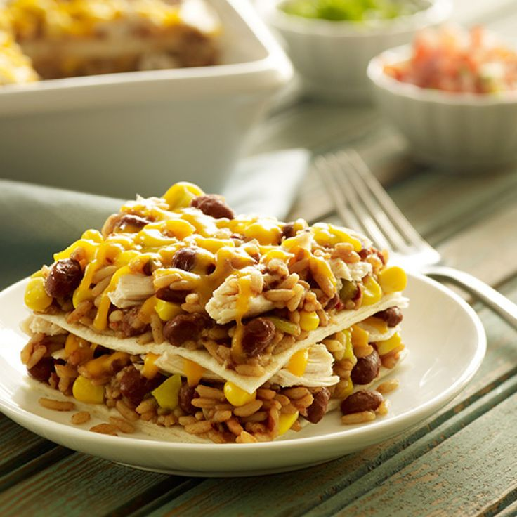 Leftover chicken makes for a hearty Mexican-style casserole. Layer it with Zatarain's Red Beans and Rice, cheddar cheese and whole kernel corn. Feel free to skip the chicken for a Meatless Monday meal. Don't forget the tortillas.