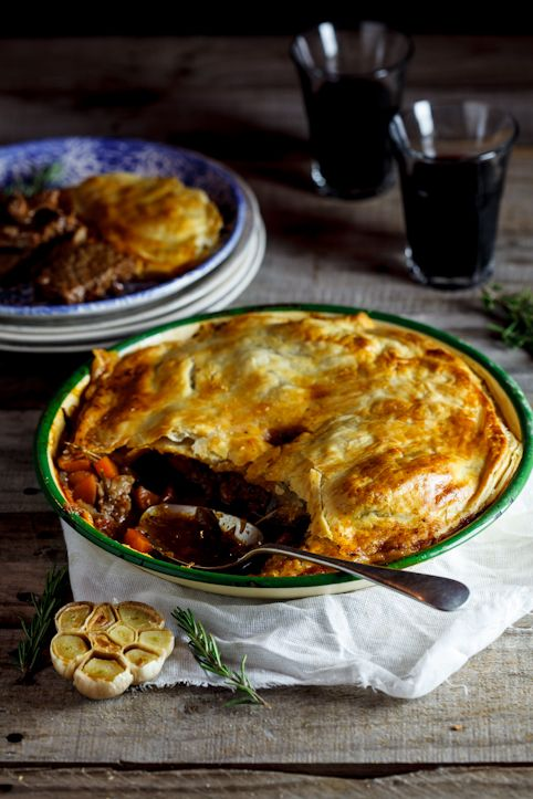 Slow-cooked lamb, rosemary and roasted garlic pie Oh My!! I need to figure out how to make this for my dad!